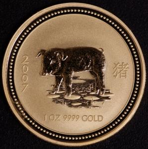 2007 Schwein 1 Unze Lunar I Gold