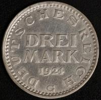 3 M. Kursmünze 1924 G
