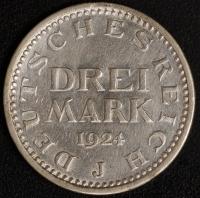 3 M. Kursmünze 1924 J