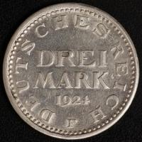 3 M. Kursmünze 1924 F