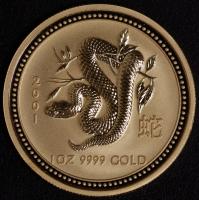 2001 Schlange 1 Unze Lunar I Gold