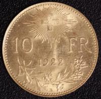 10 Fr. Vreneli 1922